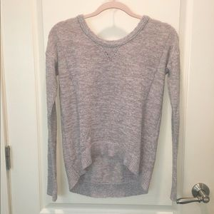 American Eagle grey and purple shimmer sweater